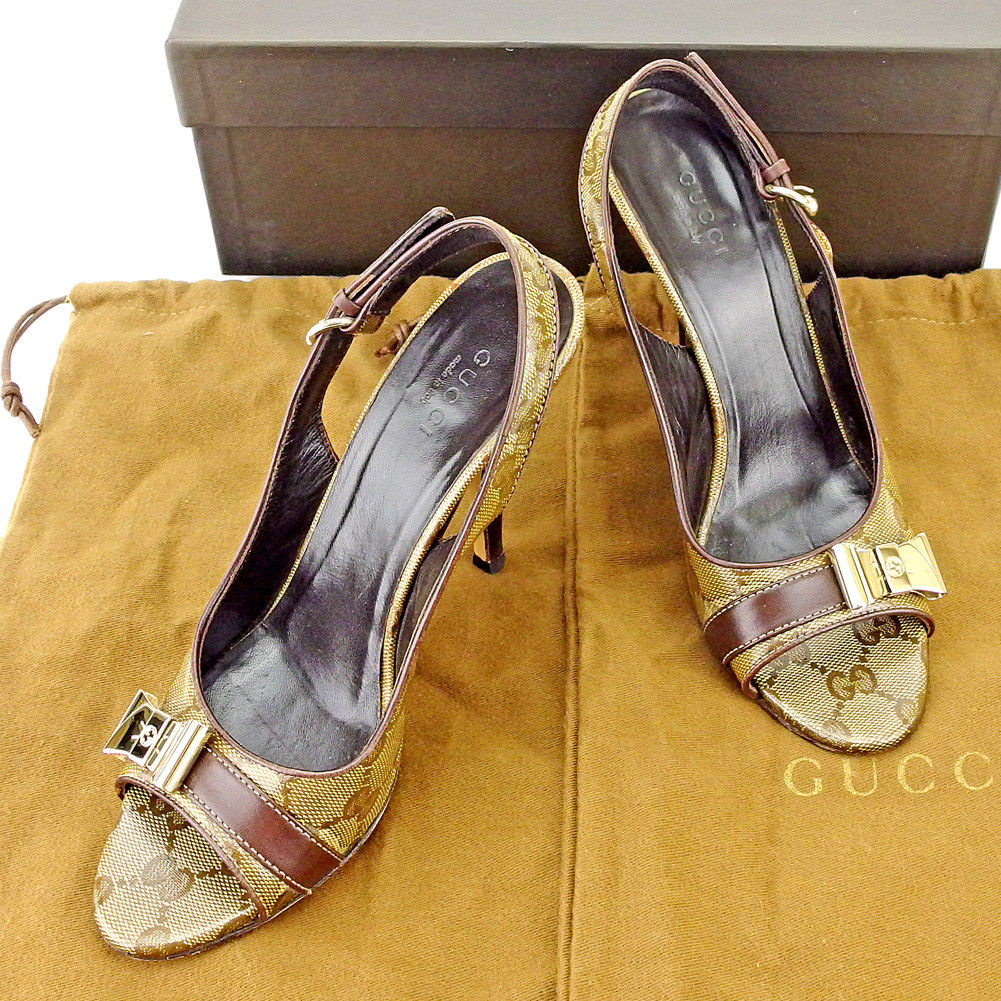 84ad4cd10 Gucci GUCCI pumps shoes shoes Lady s ♯ 36C ribbon plate crystal GG beige  brown gold coating canvas X leather popularity sale T5494