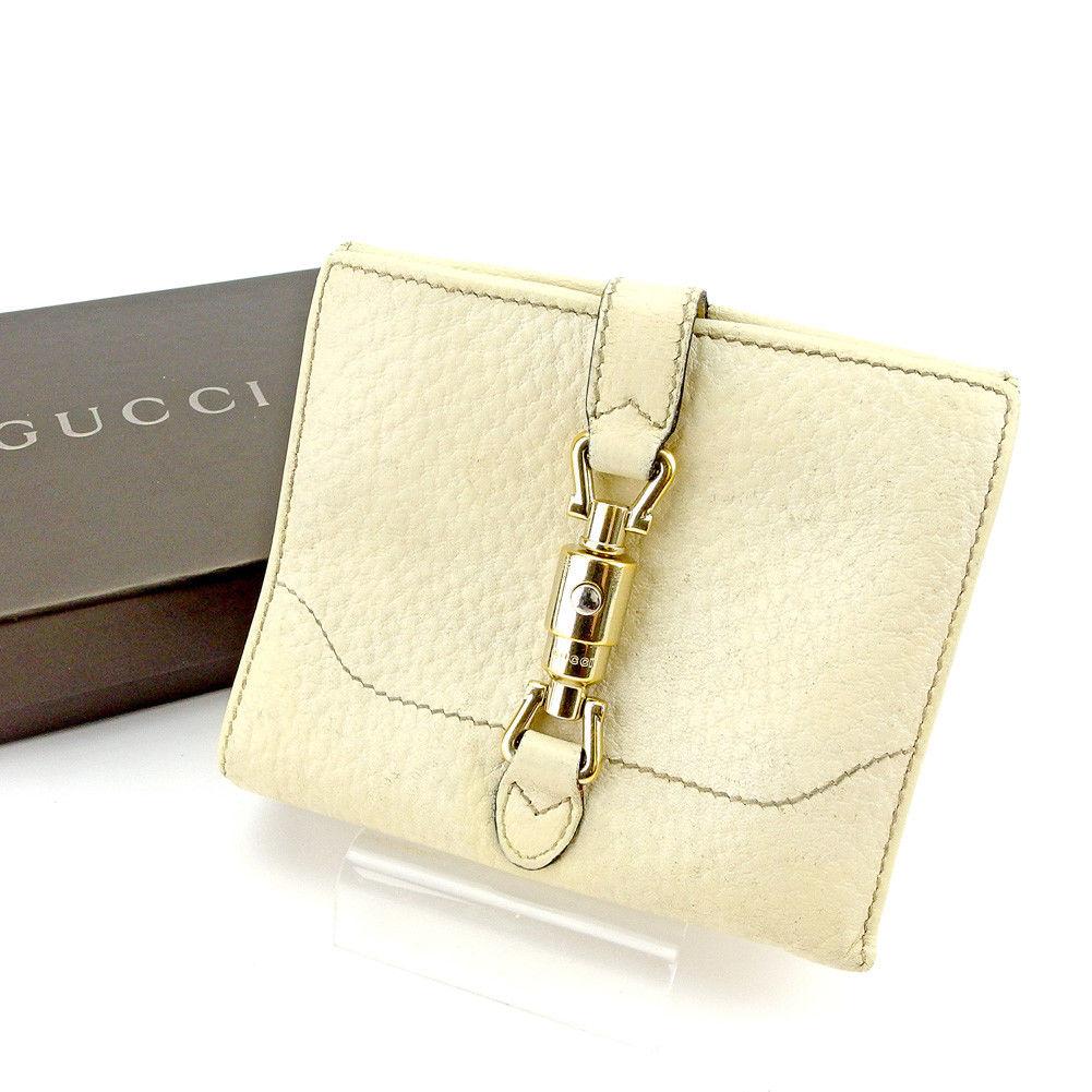 【中古】 【送料無料】 グッチ Wホック 財布 二つ折り レディース メンズ 可 ニュージャッキー ベージュ ゴールド レザー Gucci T5499 .