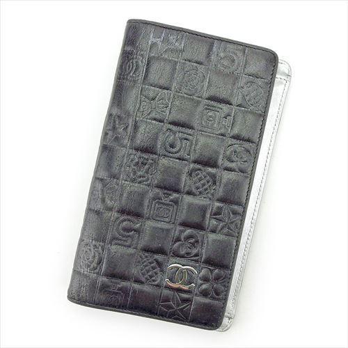 【中古】 【送料無料】 シャネル 長財布 ファスナー付き 財布 レディース アイコンシリーズ ココマーク ブラック シルバー レザー Chanel T5525