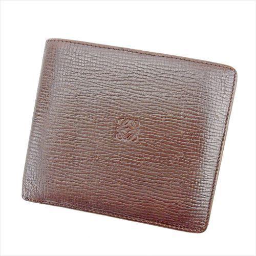 【中古】 【送料無料】 ロエベ 二つ折り 財布 レディース メンズ 可 アナグラム ブラウン レザー Loewe T5533 .