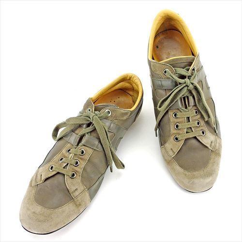 【中古】 【送料無料】 エルメス HERMES スニーカー シューズ 靴 メンズ ♯41 ローカット Hマーク グレー 灰色 グリーン シルバー系 レザー×スエード 人気 T5575 .