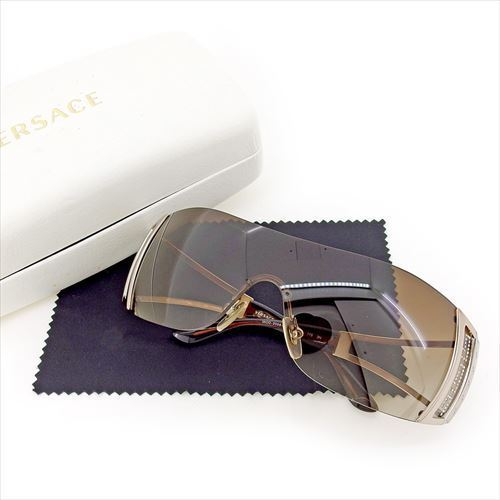1c95a8cdf4 One-length type brown silver system plastic X silver metal fittings beauty  product T5718 with the Versace VERSACE sunglasses glasses eyewear lady s  men s ...