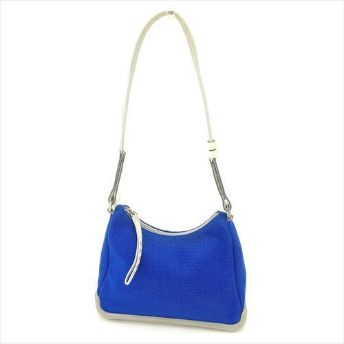 Prada PRADA shoulder bag one shoulder bag lady sports line blue gray gray  silver system mesh canvas X leather X rubber popularity sale T5892 4e3ceb056daa6