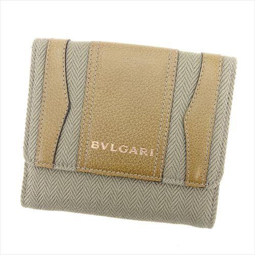 【中古】 【送料無料】 ブルガリ BVLGARI Wホック 財布 二つ折り 財布 レディース メンズ 可 グレー 灰色 キャンバス×レザー 未使用品 T5948 .
