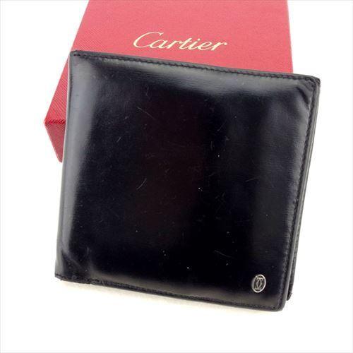 【中古】 カルティエ Cartier 二つ折り 財布 ブラック レディース メンズ ユニセックス レザークリスマス プレゼント サイフ 小物 ブランド 人気 贈り物 財布 収納 在庫一掃 迅速発送 在庫処分 男性 女性 良品 夏 1点物 T5968