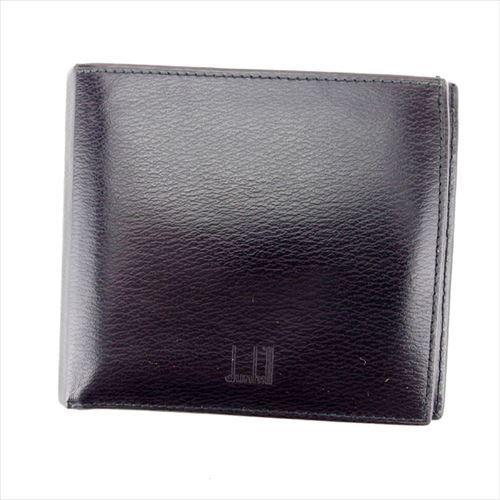 【中古】 【送料無料】 ダンヒル dunhill 二つ折り 札入れ 二つ折り 財布 レディース メンズ 可 ブラウン レザー 人気 T6022 .