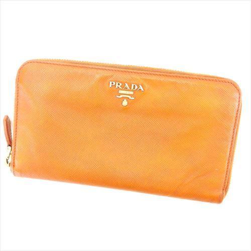 【中古】 プラダ 長財布 さいふ 財布 さいふ ラウンドファスナー ロゴ オレンジ ゴールド サフィアーノレザー PRADA T6363