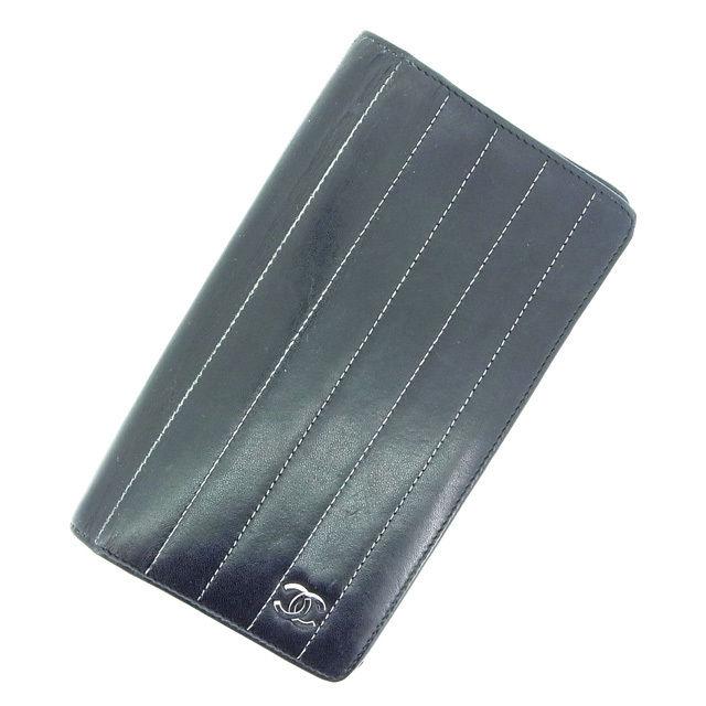 【中古】 【送料無料】 シャネル 二つ折り長財布 レディース ココマーク ブラック Chanel Y311 .