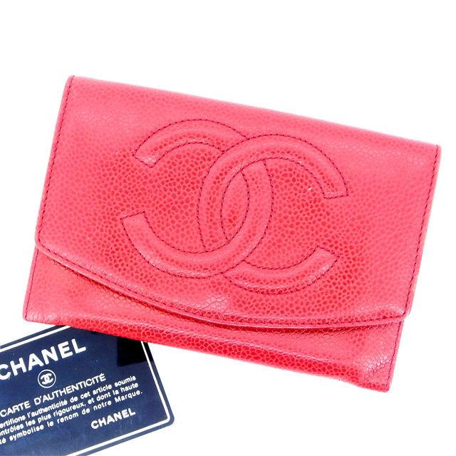 【中古】 【送料無料】 シャネル 二つ折り 財布 レディース キャビアスキン×ココマーク レッド Chanel Y400 .
