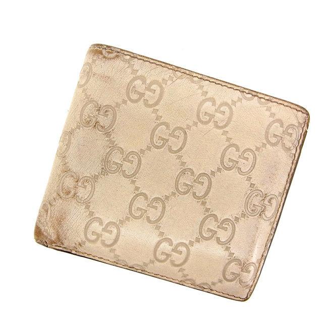 【中古】 【送料無料】 グッチ 二つ折り財布 レディース グッチシマ ホワイト Gucci Y493 .