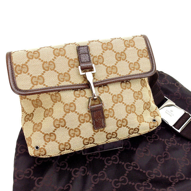 8db4d0591bc1 Gucci GUCCI body bag / waist porch / men's possible GG pattern beige canvas  (correspondence) (popularity, beautiful article) Y600