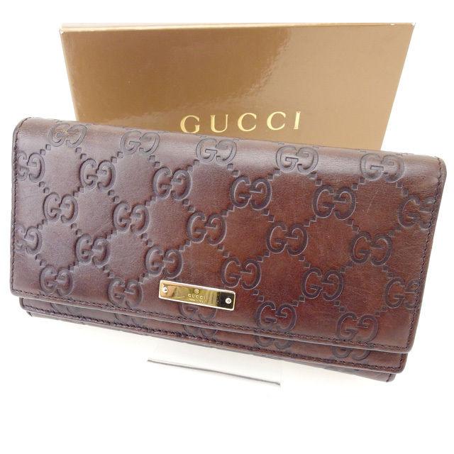 【中古】 【送料無料】 グッチ 長財布 レディース グッチシマ ブラウン Gucci T14598
