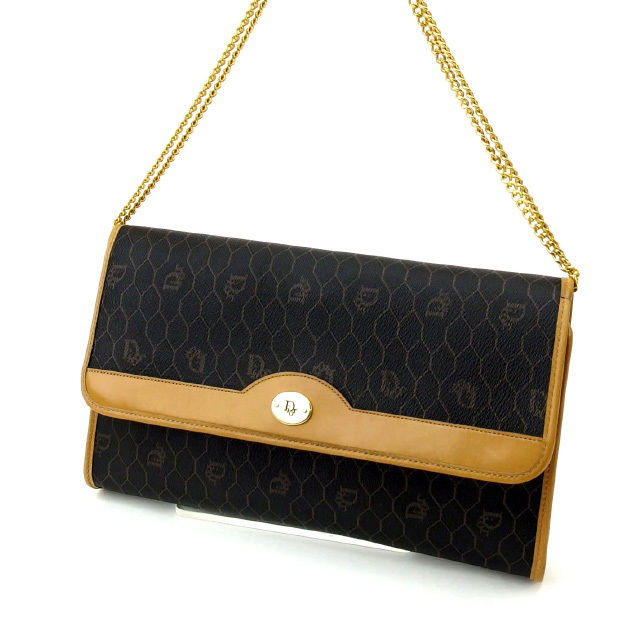 Christian Dior Christian Dior shoulder bag clutch bag Lady s 2way vintage  black X gold PVC X leather (correspondence) discontinuance of making  quality goods ... 747c659b98bc9