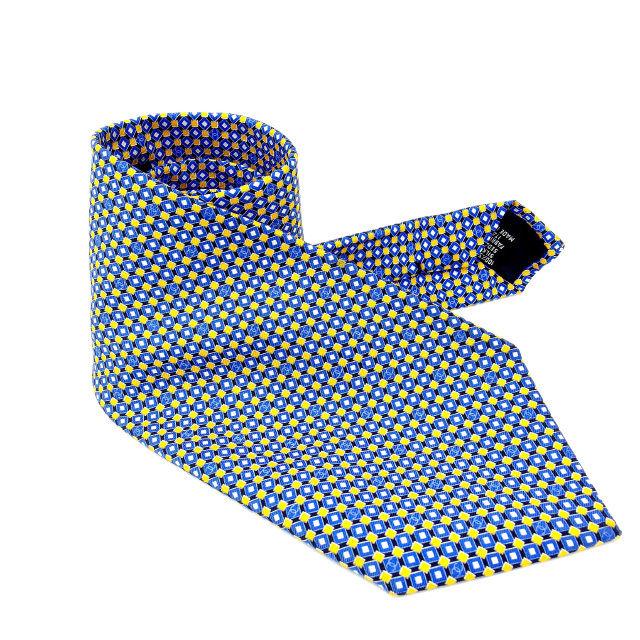 【中古】 【送料無料】 シャネル CHANEL ネクタイ メンズ ブルー×イエロー 100%シルク (あす楽対応)人気 美品 Y1365s .