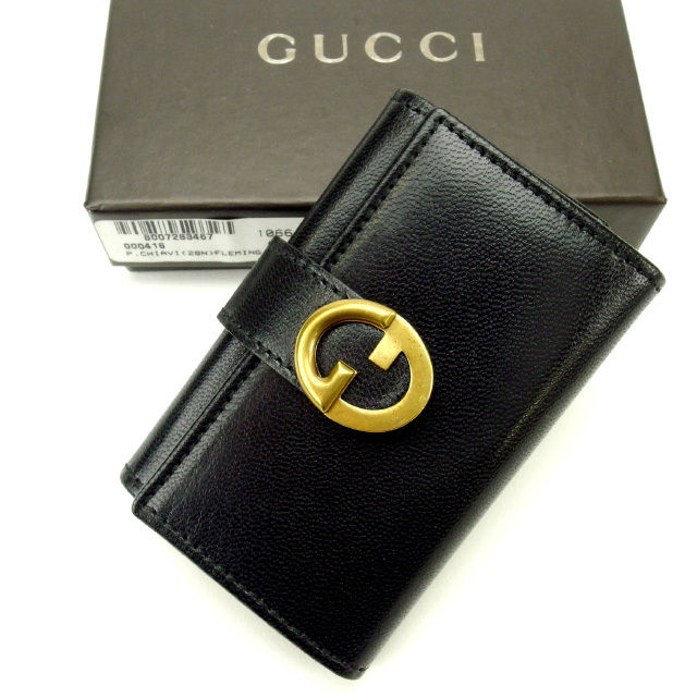 【中古】 【送料無料】 グッチ キーケース 6連キーケース レディース ブラック×ゴールド Gucci Y1508 .