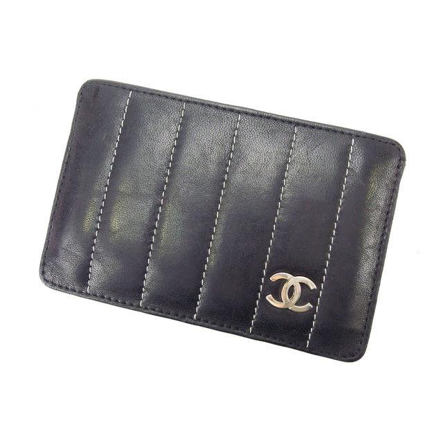 【中古】 【送料無料】 シャネル 名刺入れ カードケース レディース マドモアゼル ブラック Chanel Y1589 .