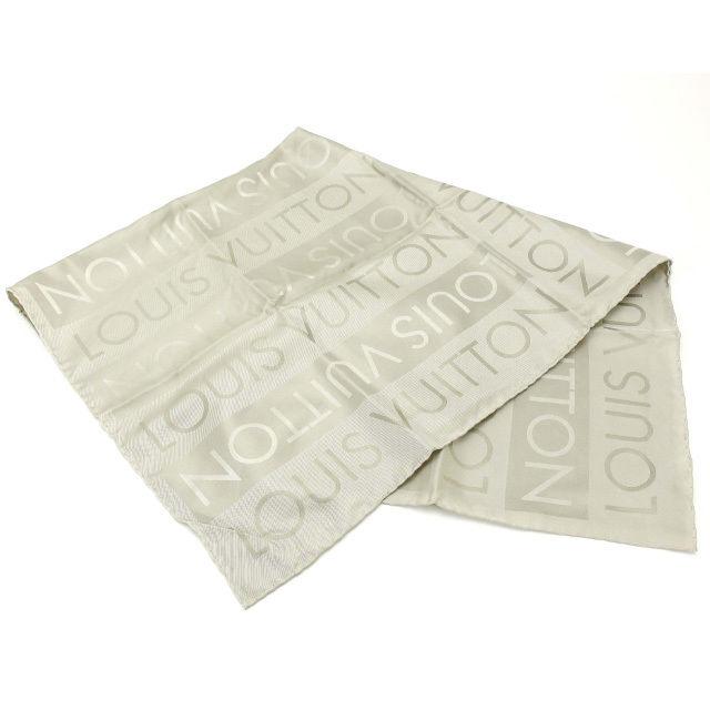 【中古】 【送料無料】 ルイヴィトン Louis Vuitton スカーフ メンズ可 シルバー 100%シルク (あす楽対応)人気 超美品 Y1688 .