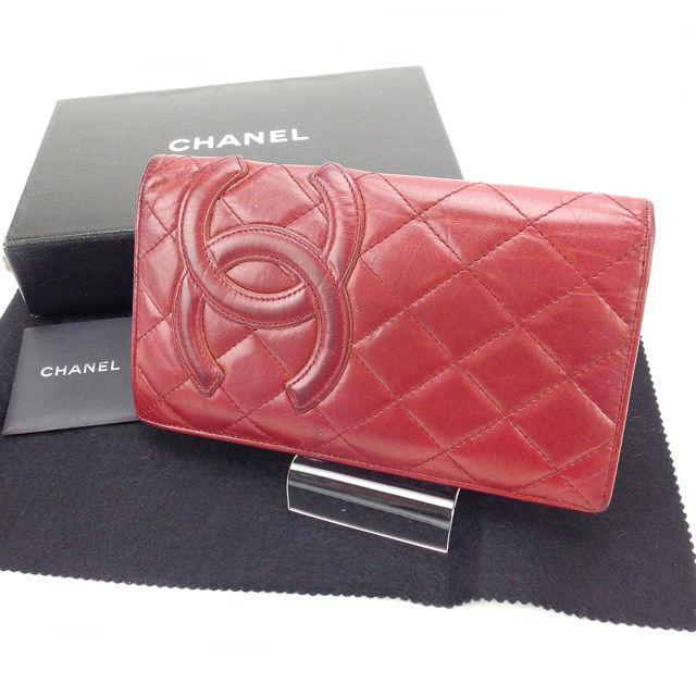 【中古】 【送料無料】 シャネル 長財布 ファスナー付き長財布 レディース カンボンライン ボルドー Chanel T11297