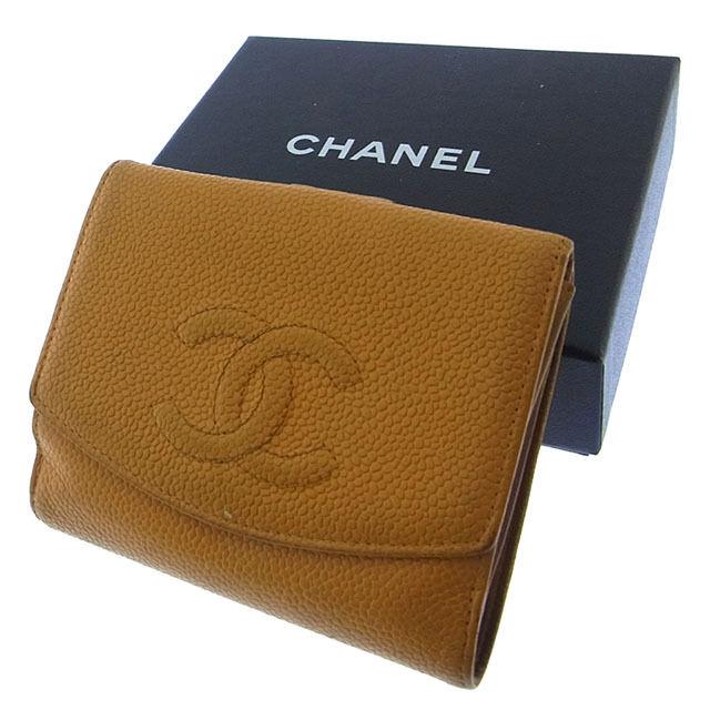 【中古】 【送料無料】 シャネル CHANEL Wホック財布 二つ折り メンズ可 ココマーク ライトブラウン キャビアスキン (あす楽対応) Y1948