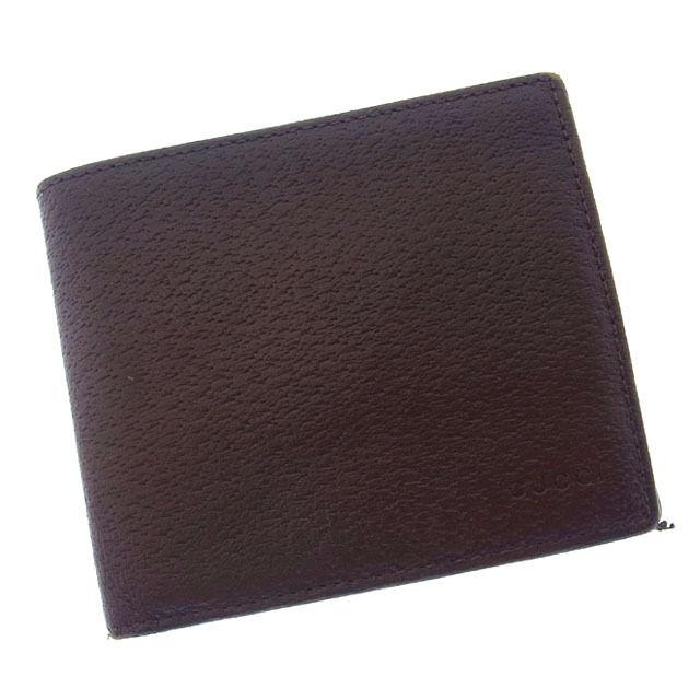 【中古】 【送料無料】 グッチ 二つ折り財布 コンパクトサイズ レディース ロゴ ブラウン Gucci T13330 .