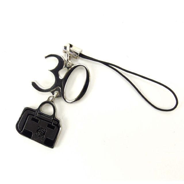 【中古】 【送料無料】 ロエベ 携帯ストラップ キーリング レディース 記念モデル シルバー×ブラック Loewe Y2032 .
