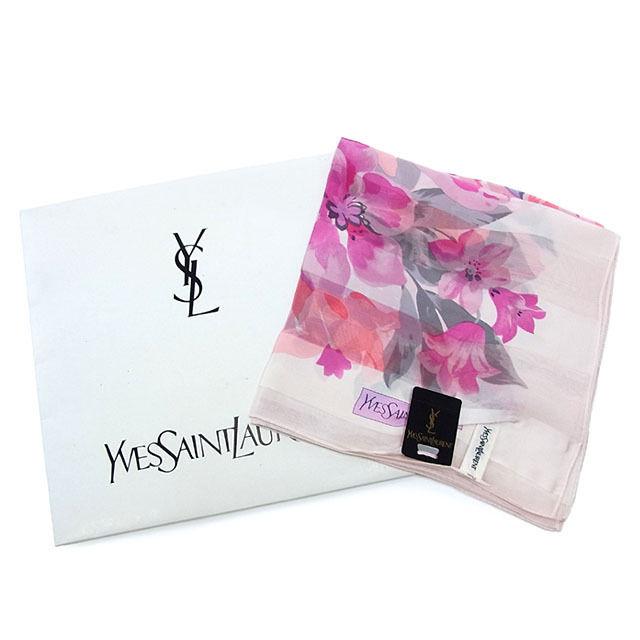 【中古】 【送料無料】 イヴ サンローラン YVES SAINT LAURENT スカーフ 大判サイズ レディース フラワー柄 ピンク系 SILK/100% (あす楽対応) 美品 Y2123 .
