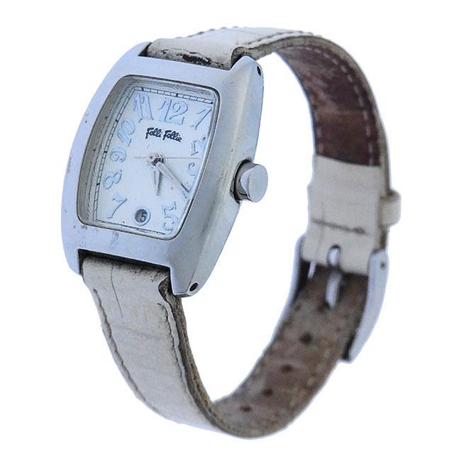 【中古】 【送料無料】 フォリ フォリ 腕時計 ファッションアイテム レディース スクエアフェイス クォーツ シルバー×ホワイト Folli Follie Y2168 .