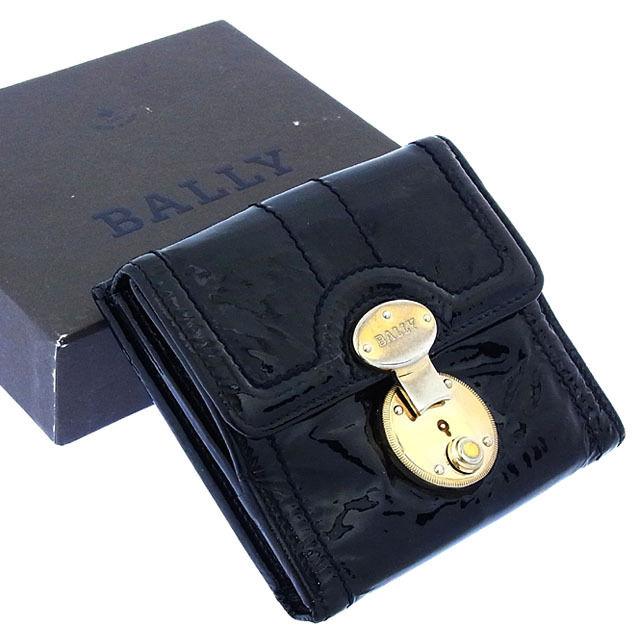 【中古】 【送料無料】 バリー Wホック財布 二つ折り レディース ロゴプレート ステッチライン入り ブラック×ゴールド Bally T11646 .