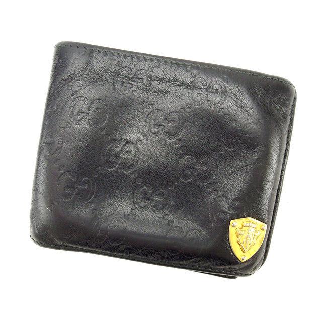 【中古】 【送料無料】 グッチ 二つ折り財布 レディース グッチシマ ブラック Gucci T13219 .