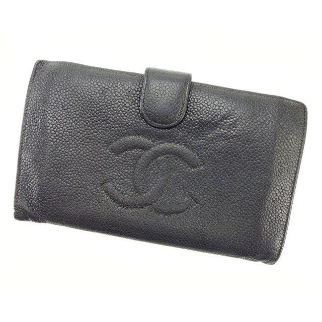 【中古】 【送料無料】 シャネル がま口財布 長財布 レディース キャビアスキン ブラック レザ- Chanel Y2280 .