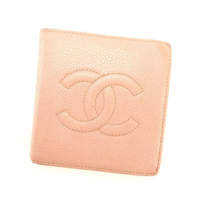 【中古】 【送料無料】 シャネル 二つ折り財布 レディース キャビアスキン ピンク Chanel Y2333 .