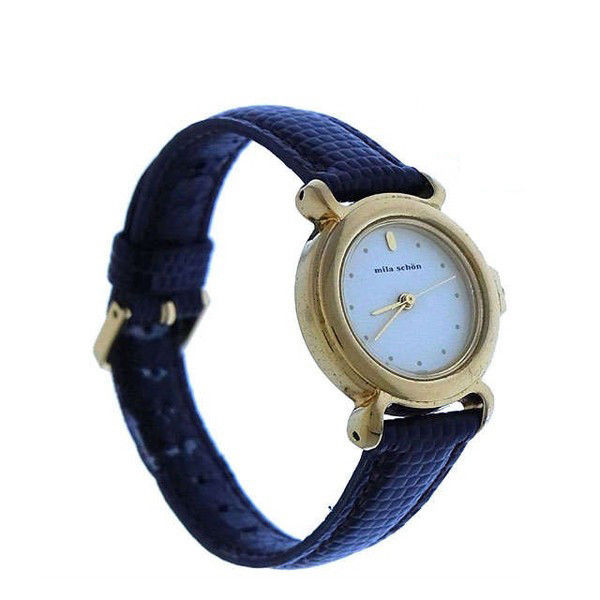 【中古】 ミラ ショーン 腕時計 クォーツ リザード調 ラウンドフェイス ゴールド×ブラウン mila schon レディース プレゼント 贈り物 1点物 人気 良品 夏 迅速発送 オシャレ 大人 在庫処分 ファッション T16283 A