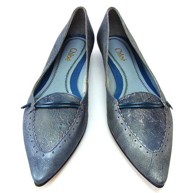 【中古】 クロエ パンプス シューズ 靴 ♯36 スカラップレース ポインテッドトゥ ブルー系 Chloe F1748@