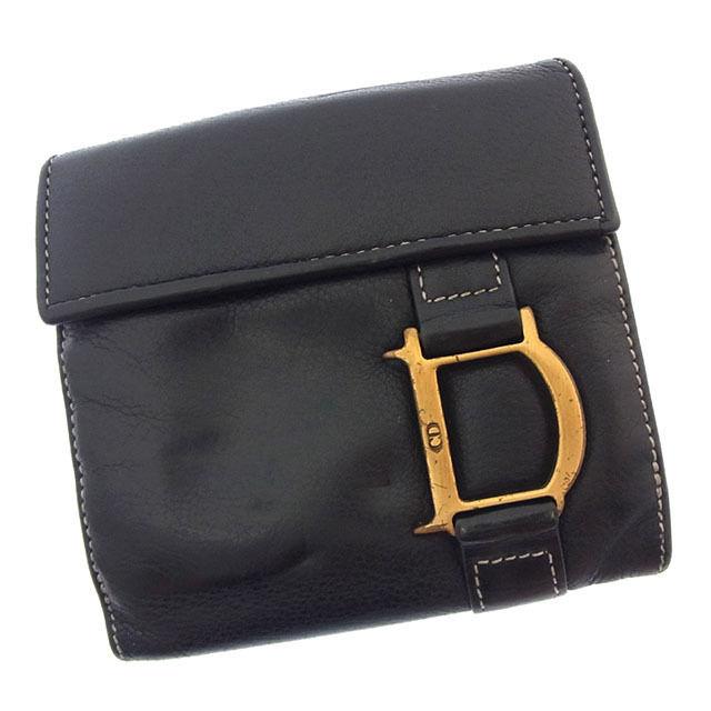 【中古】 【送料無料】 クリスチャン ディオール Wホック財布 二つ折り レディース Dマーク ブラック×ゴールド Christian Dior Y2629 .