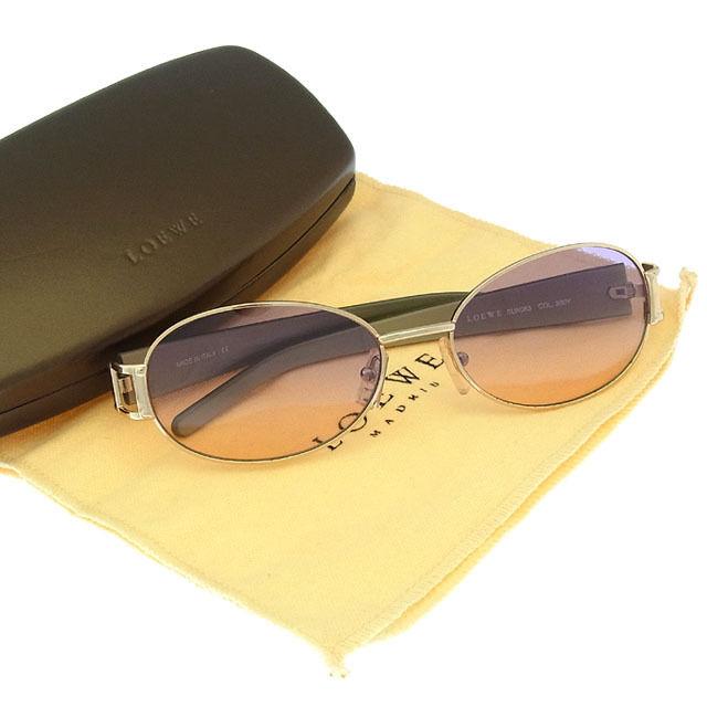 【中古】 【送料無料】 ロエベ LOEWE サングラス メガネ メンズ可 サイドロゴ入り フルリム SLW063 COL300Y クリアパープル×ゴールド系 プラスティック×ゴールド金具 (あす楽対応)美品 Y2779 .