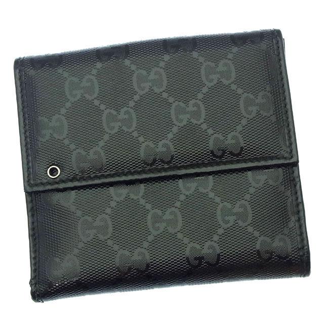【中古】 【送料無料】 グッチ Wホック財布 二つ折り コンパクトサイズ レディース GGインプリメ ブラック Gucci Y2812 .