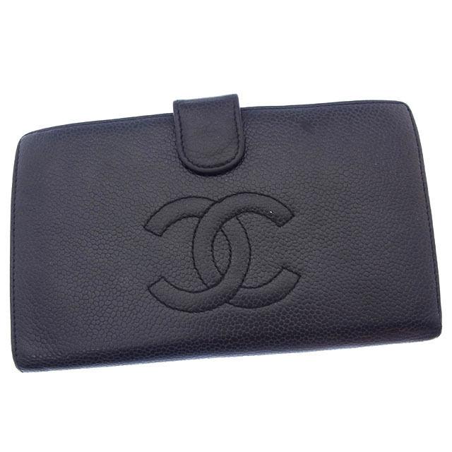 48a15565930d 【中古】 【送料無料】 シャネル 長財布 がま口 二つ折り レディース ココマーク ブラック×ゴールド Chanel Chanel Chanel  Y2820 . ba3