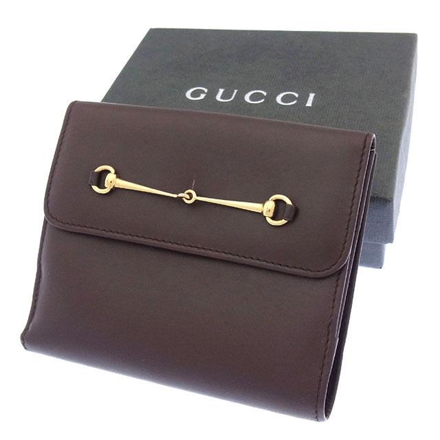 【中古】 【送料無料】 グッチ GUCCI Wホック財布 二つ折り コンパクトサイズ メンズ可 ホースビット ブラウン×ゴールド レザー (あす楽対応)良品 Y2837 .