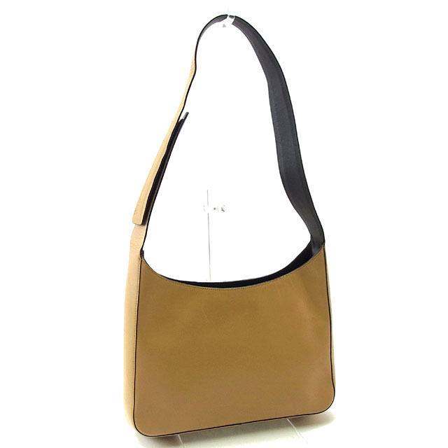 Prada PRADA shoulder bag one shoulder men s possible logo B8990 beige X  brown leather (correspondence) deep-discount sale Y2886 476b32c5cff11