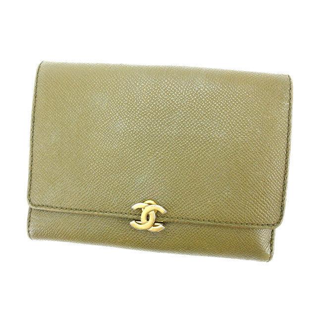 【中古】 【送料無料】 シャネル 三つ折り財布 レディース ココマーク カーキ Chanel Y2930 .