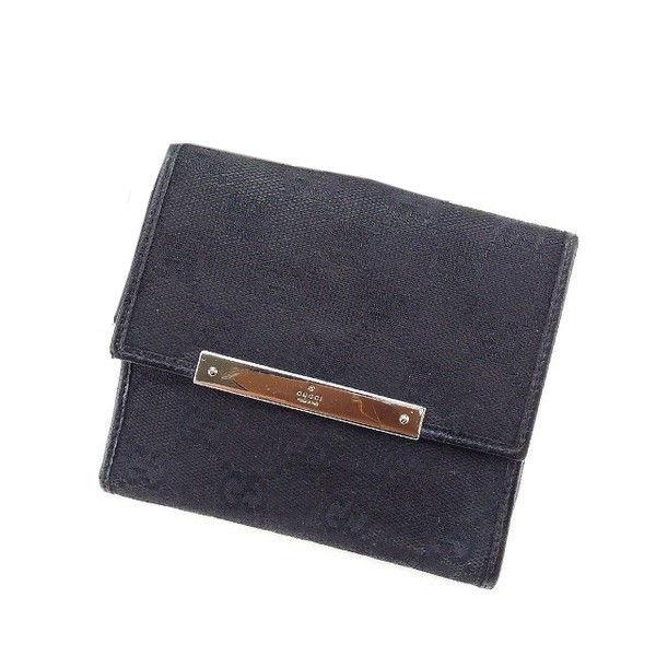3fc6a0b9b1c3 【中古】 【送料無料】 グッチ GUCCI Wホック財布 二つ折り コンパクトサイズ