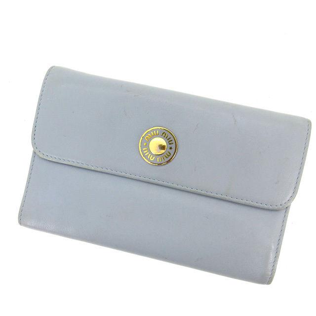 【中古】 【送料無料】 ミュウミュウ miumiu 三つ折り財布 ブルー レザー (あす楽対応)人気 激安 Y809