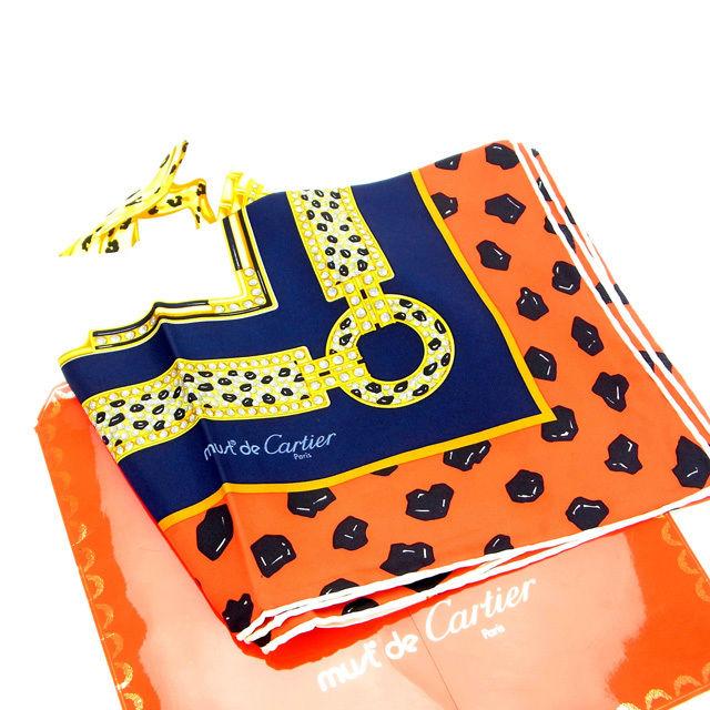【中古】 【送料無料】 カルティエ スカーフ レディース パンサー レッド×ネイビー×ベージュ Cartier Y834 .