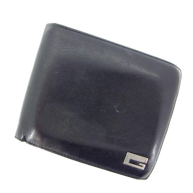 【中古】 【送料無料】 グッチ 二つ折り財布 レディース ブラック Gucci Y858 .
