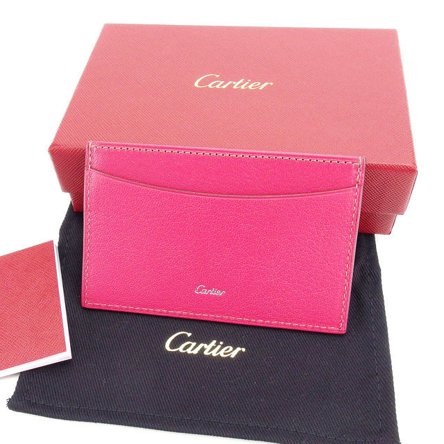 【中古】 【送料無料】 カルティエ カードケース パスケース レディース ロゴ ピンク×シルバー Cartier Y3450 .