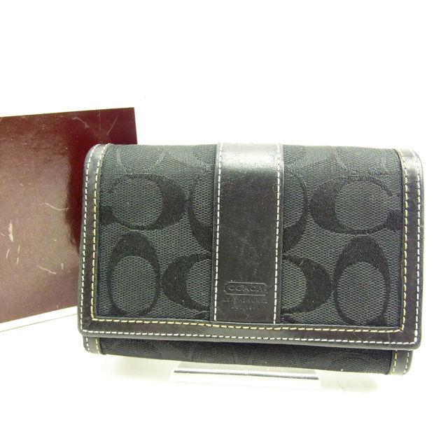 【中古】 【送料無料】 コーチ COACH L字ファスナー財布 二つ折り レディース シグネチャー ストライプ ブラック 良品 Y3600
