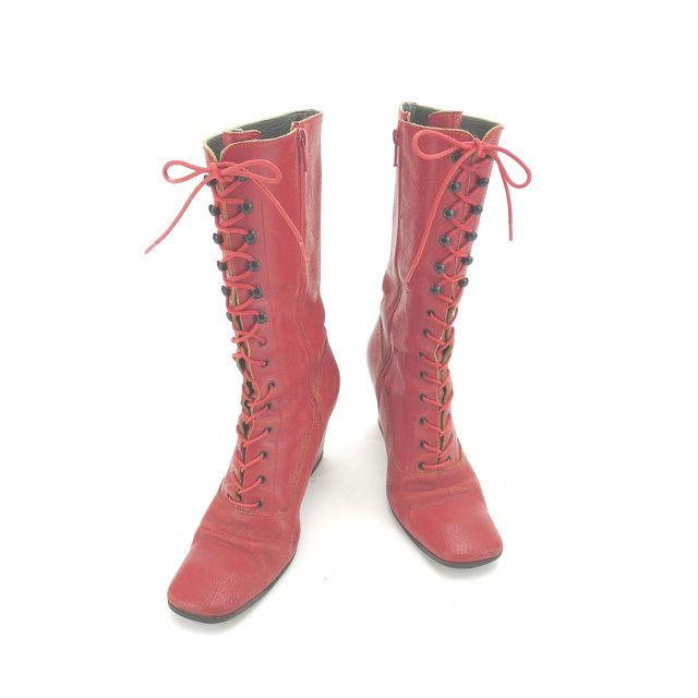 【中古】 【送料無料】 ミュウミュウ miumiu ブーツ ロング シューズ 靴 レディース ♯38 スクエアトゥ レースアップ レッド×ブラック ヴィンテージ加工レザー (あす楽対応)人気 Y3961 .