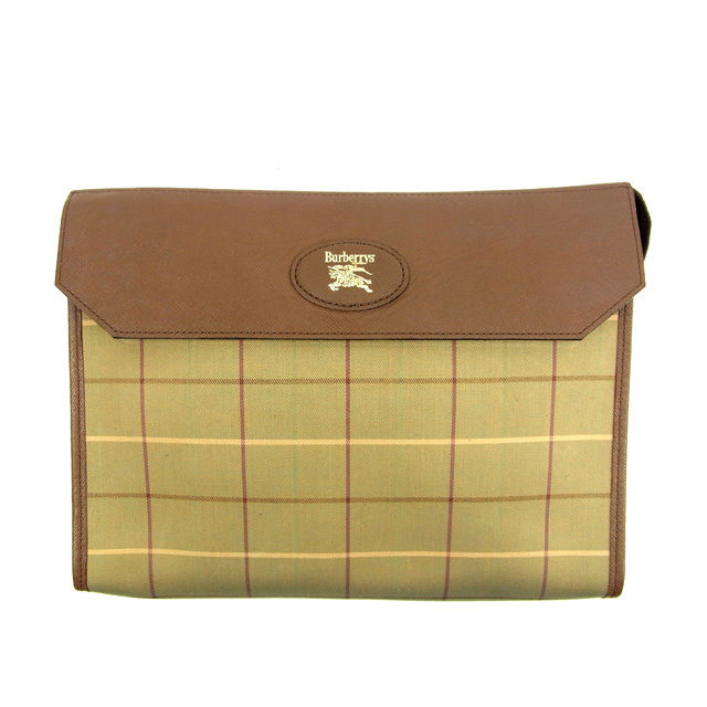 Burberry BURBERRY clutch bag handbag Novacek beige X green canvas X leather  deep-discount sale Y3988 da9dcf393e1ce