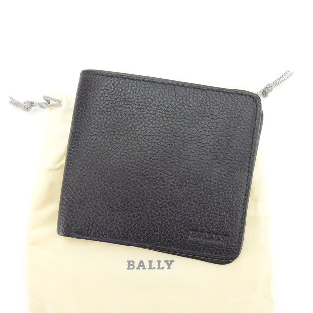 【中古】 【送料無料】 バリー Bally 二つ折り札入れ メンズ ブラック レザー (あす楽対応)良品 Y3994 .