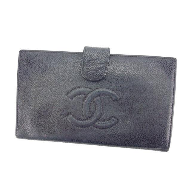 【中古】 【送料無料】 シャネル 長財布 がま口 レディース ココマーク ブラック×ゴールド Chanel T11709